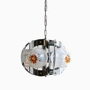 Lámpara colgante de cristal de Murano y metal cromado de Mazzega, años 70