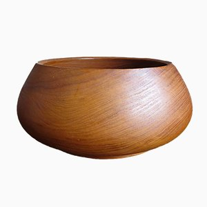 Large Solid Teak Bowl, 1950s