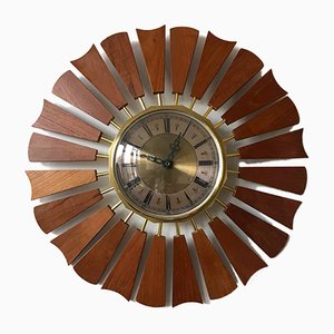 Vintage Sunburst Wall Clock from Anstey & Wilson