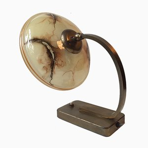 Danish Brass & Marbled Glass Table or Wall Lamp, 1940s
