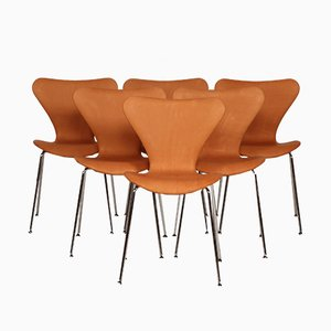 Sedie nr. 7 di Arne Jacobsen per Fritz Hansen, anni '80, set di 6