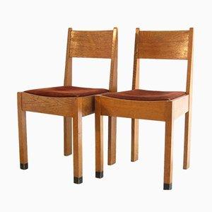 Amsterdamer Schule Eichenholz Stühle, 1920er, 2er Set