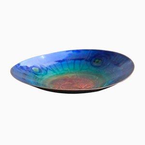 Cuenco geométrico de cerámica esmaltada, años 60