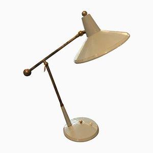 Lampe de Bureau en Métal Gris et Laiton, Italie, 1960s