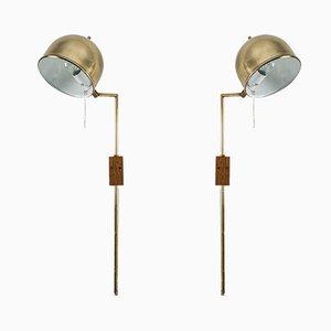 Lámparas de pared V-75 de latón de Eje Ahlgren para Bergboms. Juego de 2