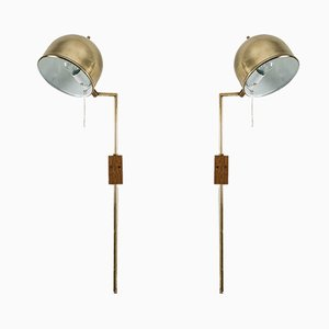 V-75 Brass Wall Lights by Eje Ahlgren for Bergboms, Set of 2
