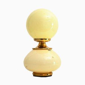 Lampada da tavolo in vetro di Murano ed ottone, anni '70