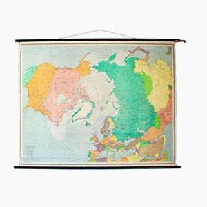 Vintage Wandschulkarte der Nordpol Staaten von Justus Perthes für Stritt & Co