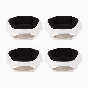 Sillones esculturales de fibra de vidrio de Mario Sabot, años 70. Juego de 4