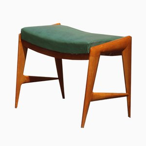 Italian Bench in Solid Maple and Eco-Leather, 1950s