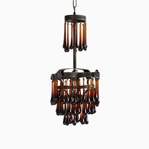 Small Vintage Brown Petal Waterfall Chandelier