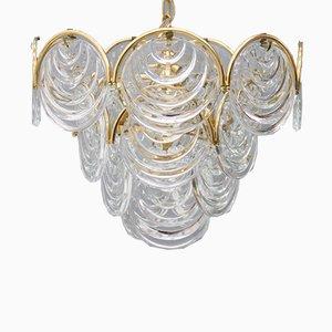 Lámpara de araña de vidrio y latón, años 60
