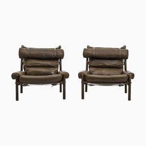 Mid-Century Swedish Inca Lounge Chairs by Arne Norell, Set of 2