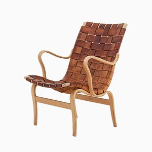 Scandinavian Leather Eva Lounge Chair by Bruno Mathsson, 1960s