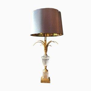 Vintage Kristallglas Tischlampe von S A Boulanger