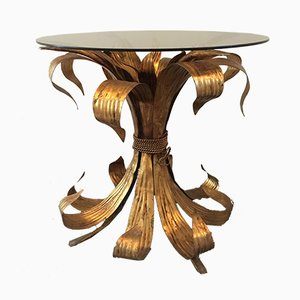 Italian Gilt Leaf Tole Table, 1950s