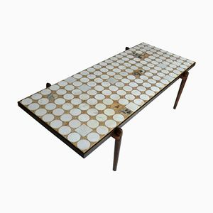 Rectangular Rosewood Coffee Table with Carrara & Onyx Mosaic by Heinz Lilienthal, 1960s