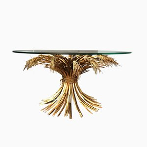 Mid-Century Gilt Brass Wheat Sheaf Table