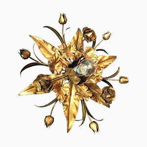 Gilt Flower Flush Ceiling Light, 1970s