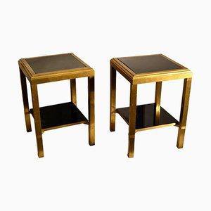 Brass Square Side Tables with 2-Level Black Glass Shelves, Set of 2