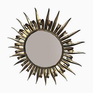 Espejo en forma de sol Mid-Century dorado biselado, años 50