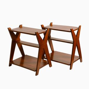 French Modernist Mahogany Side Tables, 1930s, Set of 2