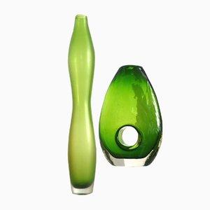 Mid-Century Vasen im Bianconi/Venini/Morretti Stil aus Glas, 2er Set
