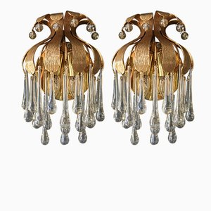 Gold-Plated Murano Glass Teardrop Wall Sconces from Palwa, 1970s, Set of 2