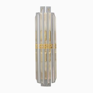 Wandlampe aus Kristallglas & vergoldetem Metall, 1970er