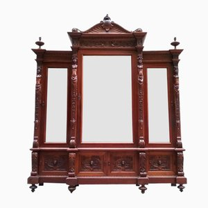 Armario antiguo con tres puertas con espejo, década de 1900