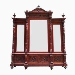 Armoire Antique avec 3 Portes Miroirs, 1900s