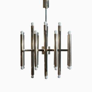 Lámpara de araña minimalista de níquel con 24 luces de Sciolari, años 60