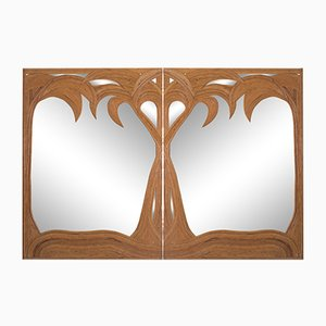 Espejos Hollywood Regency de bambú. Juego de 2