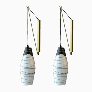 Black & White Mid-Century Czech Hand-Painted Glass Wall Lights, Set of 2