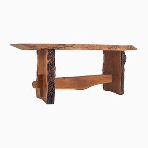 Mesa de comedor estilo Wabi-Sabi de madera roja, años 60