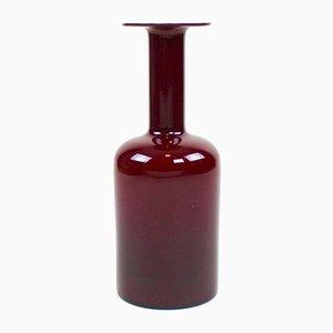 Vase Rouge Bordeaux Vintage par Otto Brauer pour Holmegaard