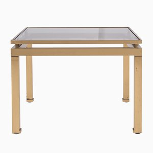 Hollywood Regency Brass & Smoked Glass Side Table