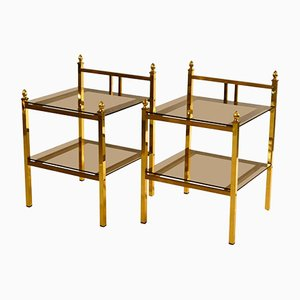 French Brass Side Tables with Glass Shelves, 1970s, Set of 2