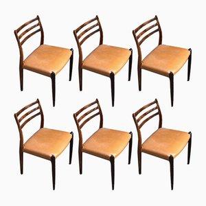 Dänische Palisander Modell 78 Esszimmerstühle von Niels Otto Møller für J. L. Møllers, 1960er, 6er Set
