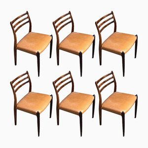 Danish Rosewood Model 78 Dining Chairs by Niels Otto Møller for J. L. Møllers, 1960s, Set of 6