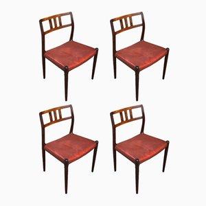 Modell 79 Palisander Esszimmerstühle von Niels O Møller für J.L. Møllers, 1960er, 4er Set