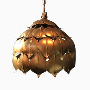 Large Gilt Lotus Ceiling Light, 1960s