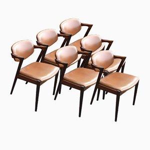 Mid-Century Modell 42 Palisander Esszimmerstühle von Kai Kristiansen, 6er Set