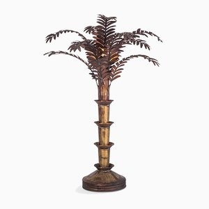 Hollywood Regency Kupfer Palmen Tischlampe, 1970er