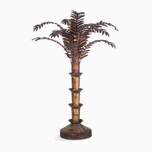 Lámpara de mesa Hollywood Regency en forma de palmera de cobre, años 70