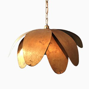 Large Handcrafted Brass Lotus Flower Ceiling Light, 1970s