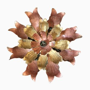 Brutalistische florale Kupfer & Messing Deckenlampe, 1960er