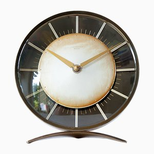 Art Deco Brass Mantel Clock from Junghans Meister, 1950s