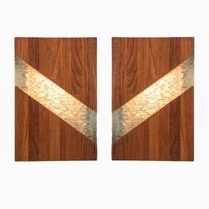 Mid-Century Teak & Glass Table Lamps, Set of 2