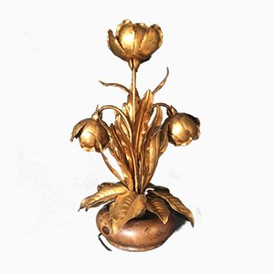 Italian Gilt Flower Tole Lamp, 1970s